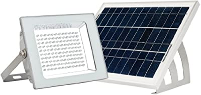 MicroSolar - Lithium Battery - 120 LED IP65 Solar Floodlight --- Automatically Working from Dusk to Dawn at Good Sunshine - Including 16.4 Feet Wire // Wall mounted or Ground Mounted // FL4-B