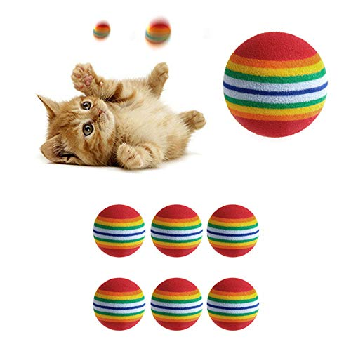 Yonger Soft Cat Ball Pet Toy Ball for Cat Colorful Kitten Toys Pompon Ball Non-Toxic Chew Toy 6pcs
