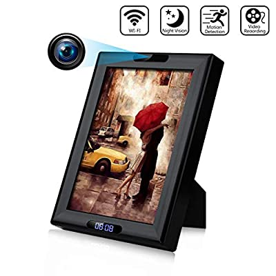 Hidden Camera Clock 1080P HD Wireless WiFi Hidden Spy Camera Photo Frame, IR Night Vision and Motion Detection Nanny Camera for Home Office Surveillance Security from HEYCAM