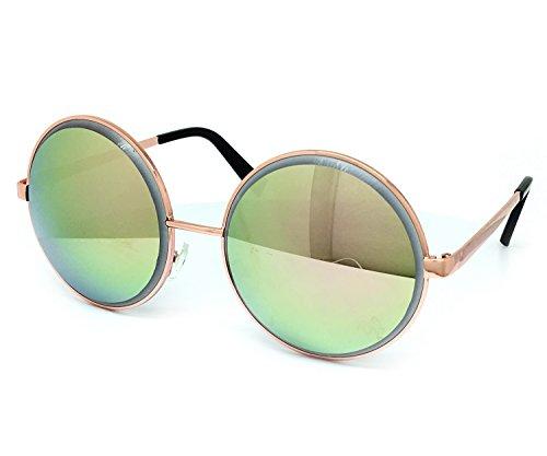 O2 Eyewear 6013 Premium Oversize Vintage Hippie Retro Round Circle Womens Mens Mirror Sunglasses (Premium Round, ROSE - Mirror Circle Oversized