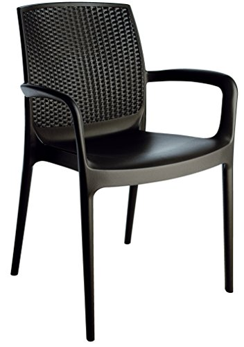 Stackable Patio Dining Armed Chair - Black - 4 Piece Set - Heavy Duty Plastic - Rattan Look Back (Plastic Patio Arm Chair)