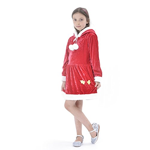 Santa Claus Girl Costumes (Girls' Xmas Claus Santa Costume Suit, Red Winter Velet Christmas Dress With Hat For Holiday Pageant Party (6-8Y))