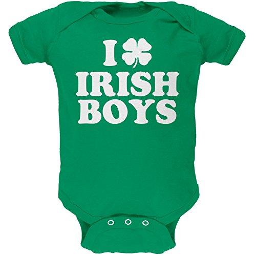 Old Glory I Shamrock Love Irish Boys Green Soft Infant Bodysuit - 18-24 Months (Green Irish Love Boys)