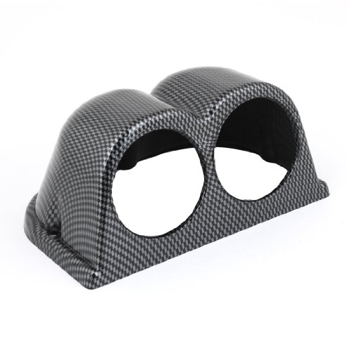 uxcell Carbon Fiber Pattern Plastic Double Gauge Dash Pod Cover for Car Carbon Gauge Pod