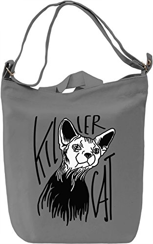 Killer Cat Borsa Giornaliera Canvas Canvas Day Bag| 100% Premium Cotton Canvas| DTG Printing|