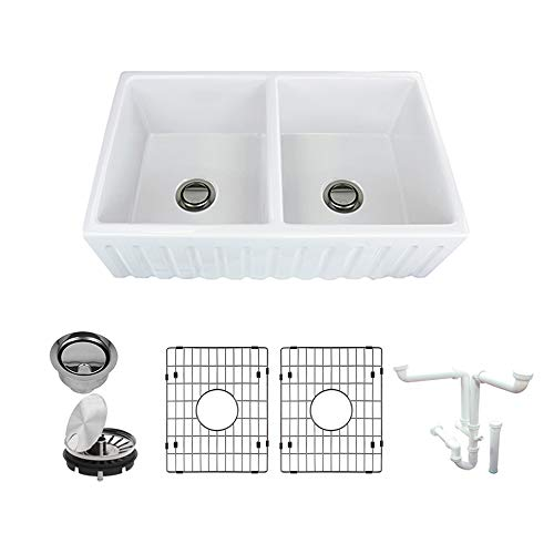 Transolid K-FUDF332010 Logan Fireclay Undermount Reversible Fluted/Plain Equal Double Bowls Farmhouse Kitchen Sink Kit, 20-in L x 33-in W x 10-in H, - Double Fireclay Sink Undermount