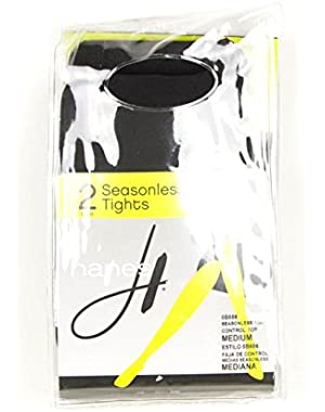Hanes Womens 2-Pair Seasonless Control Top Tights Black