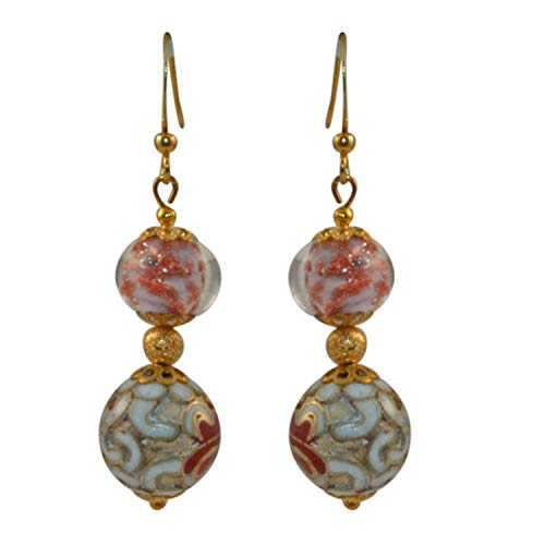 Just Give Me Jewels Genuine Venice Murano with Gold Plated Round Shaped Cloisonne Dangle Earrings ()