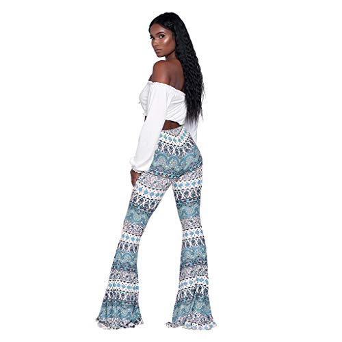 (Baiggooswt Women's Trousers Printed Trumpet Tights High Waist Bell Bottom Flared Pants Bohemia)