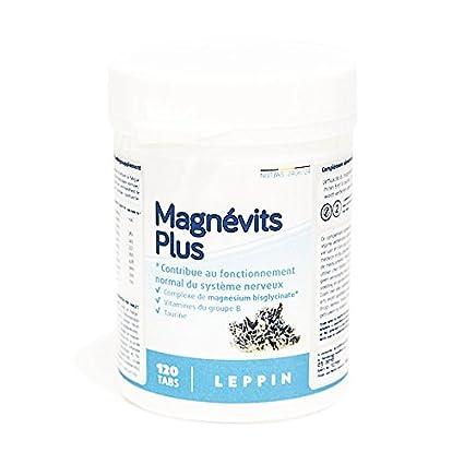 Leppin – magnévits Plus 120 Pastillas – Complejo de bisglycinate de magnesio 900 mg + Vitamines