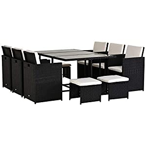 Rattan Garden 10 Seater Dining Set Black