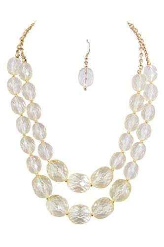 - Skelapparel Cocktail Candy Faceted Champagne Crystal Chunky Gradual Beads Double Strand Necklace