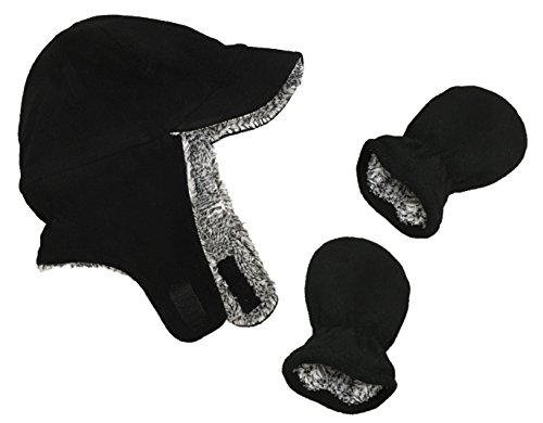 N'Ice Caps Little Boys and Baby Sherpa Lined Fleece Flap Hat Mitten Winter Set (Black Infant, 3-6 Months)