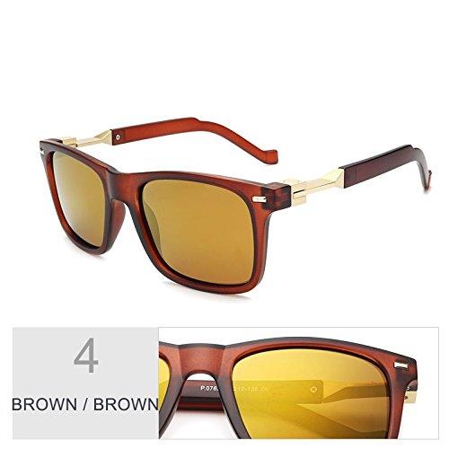 Fashion Gafas Gafas TIANLIANG04 Square Brown Polarizadas Brown Hombre Brown Para Conducción Brown dXtHqUcwHr