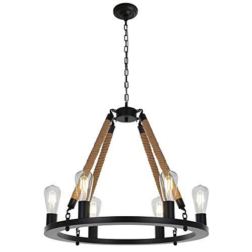 OSAIRUOS Vintage Chandelier 6 Light Rustic Pendant Lights Decorative Lighting Fixture Retro Farmhouse Antique Rope Chandeliers Ceiling Lamp Review