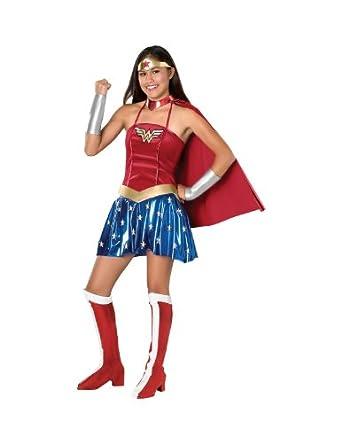Amazon Com Justice League Teen Wonder Woman Costume Red Teen