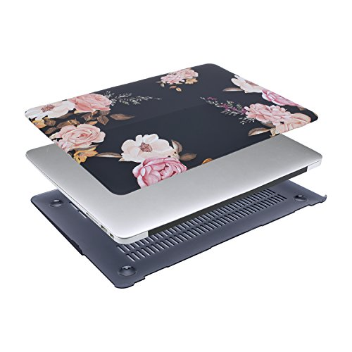 MOSISO Plastic Pattern Flower Hard Case Shell with Keyboard Cover with Screen Protector Compatible MacBook Air 13 Inch (Model: A1369 and A1466), Peony on Transparent Black Base by MOSISO (Image #6)