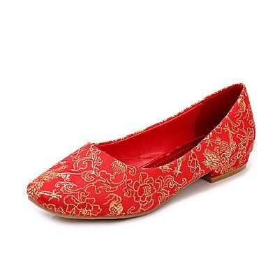 Zormey Women'S Flats Fall Comfort / Round Toe / Closed Toe Cotton Wedding Flat Heel Others Red Walking Red Us7.5 / Eu38 / Uk5.5 / Cn38 US6.5-7 / EU37 / UK4.5-5 / CN37