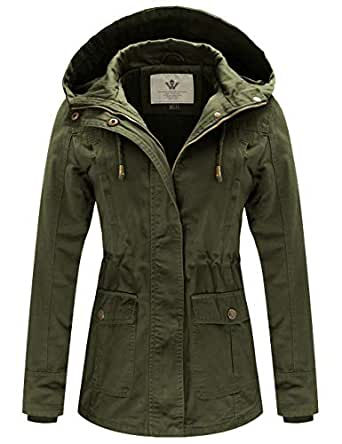 WenVen Women's Spring Cotton Military Coat Anorak Hooded Jacket(Army Green, S)