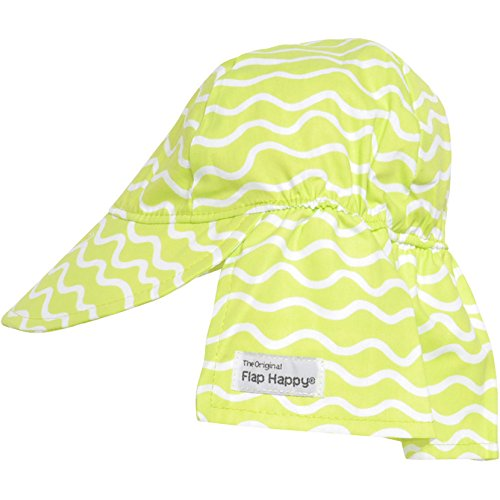 Flap Happy Girls' UPF 50+ Original Flap Hat, Lime Twist, Small