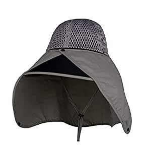 ZRL77y Ladies Summer Sun Hats,Outdoor Sunhat, Women UPF 50 Sun Hats Wide Brim with Face Neck Flap,Mesh Cloth (Color : Gray)