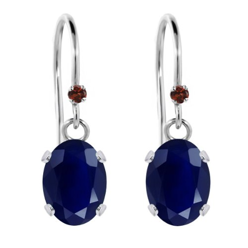 Gem Stone King 2.07 Ct Oval Blue Sapphire Red Garnet 925 Sterling Silver Earrings ()