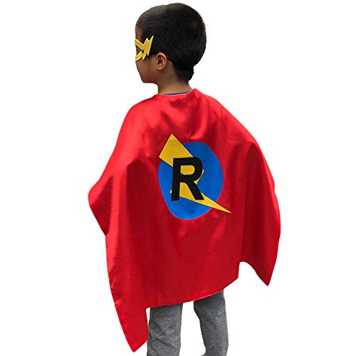 LYNDA SUTTON Boys and Girls Capes for Birthday Party,Initial Cape with Childs Name,Red and Blue Double-Side Color(Cape-R)