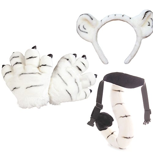 OLizee Plush Kids Tiger Party Costume Set Performance Props Cute Headband Tail Paws, White]()