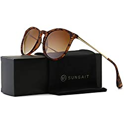SUNGAIT Vintage Round Sunglasses for Women Girl Classic Retro Designer Style (Polarized Brown Gradient Lens/Amber Frame) 1567PG HPKC