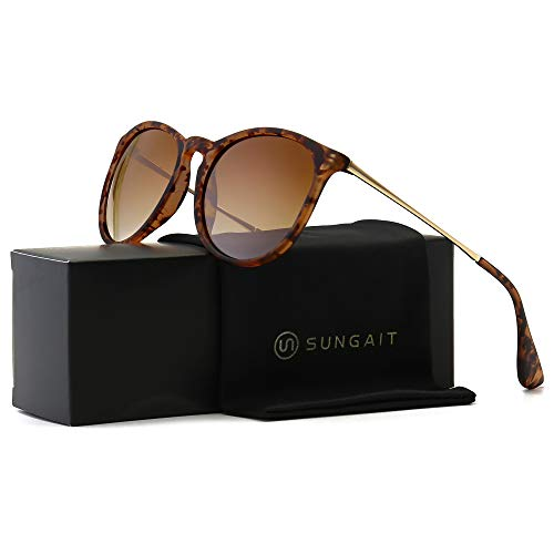 SUNGAIT Vintage Round Sunglasses for Women Girl Classic Retro Designer Style (Polarized Brown Gradient Lens/Amber Frame) 1567PG HPKC