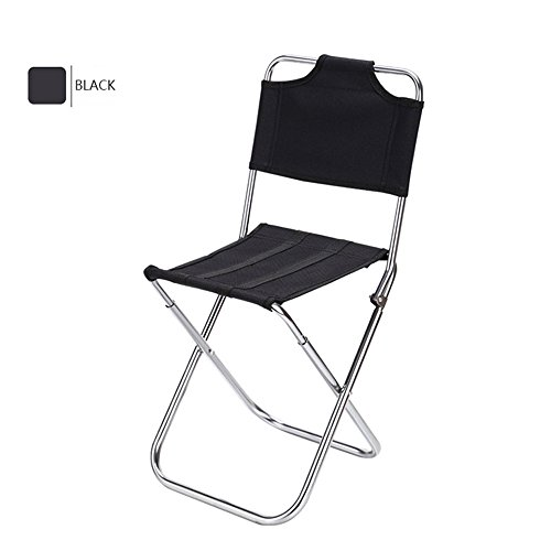 Ezyoutdoor Portable Folding Aluminum Oxford Cloth Chair Outdoor Fishing Camping with Backrest Carry Bag (Black)