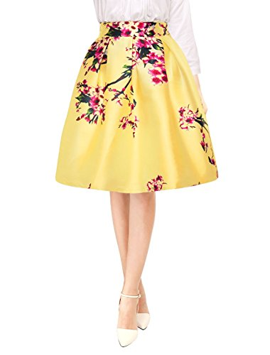 Allegra K Woman Floral Prints Pleated A Line Midi Skirt Dark Yellow XS