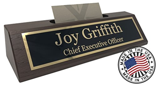 Personalized Business Desk Name Plate with Card Holder – Made in USA (Walnut Wood)