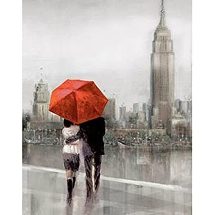 Red umbrella art new york city couple with red umbrella painting print on canvas wall
