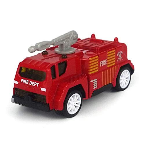 Ladiy Fire Truck Car Pull Back Alloy Car Model Mini Simulation Fire Fighting Toys Push & Pull Toys