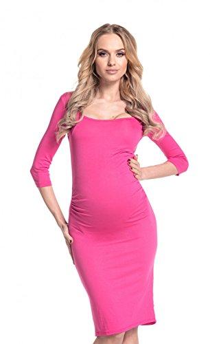 Happy Mama - Vestido de premamá, cintura fruncida, elástico, 939p fucsia