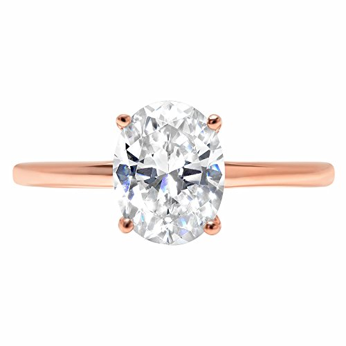 Oval Anniversary Ring Setting (2ct Oval Brilliant Cut Classic Solitaire Designer Wedding Bridal Statement Anniversary Engagement Promise Ring Solid 14k Rose Gold, 7.25)