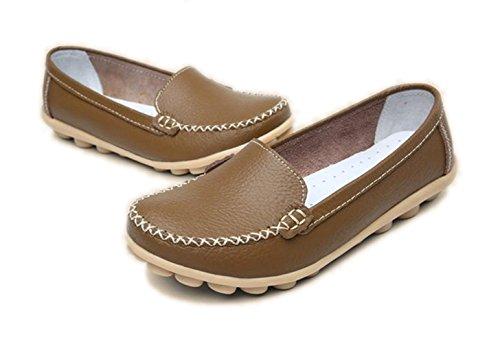 De Vrijetijdsschoenen Van Yinhan Vrouwen Laten Slipschoenen Van Platte Schoenen Khaki Los