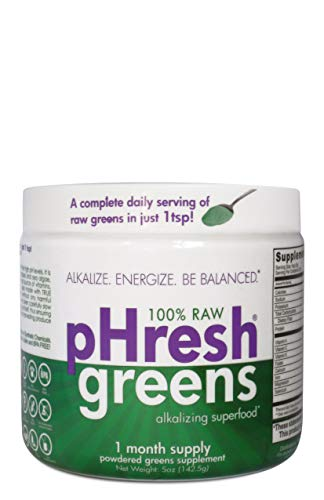 pHresh greens Organic Raw Alkalizing Superfood Greens Powder - 1 Month Supply | Gluten-Free | Natural Enzymes | Raw Nutrients | Approved for Intermittent Fasting and Keto Diets | 5 ounces
