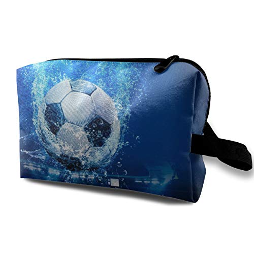 (Football Toiletry Cosmetic Bags Make Up Bag with Zipper Multi)
