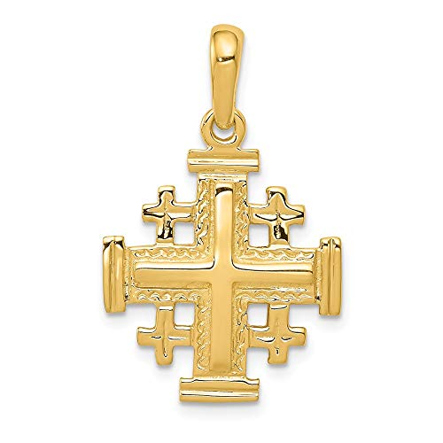 14k Yellow Gold Jerusalem Cross Religious Pendant Charm Necklace Jerum Fine Jewelry Gifts For Women For Her ()