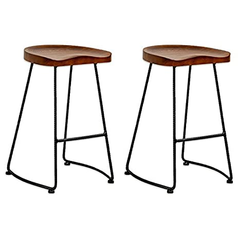 Mod Made Modern Potter Saddle Seat Metal Leg Wood Barstool (Set of 2)  sc 1 st  Amazon.com : metal saddle stool - islam-shia.org
