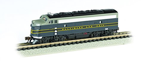 - Bachmann Industries EMD F7-A Diesel Locomotive DCC Equipped B and O Train Car, Blue/Gray/Black, N Scale