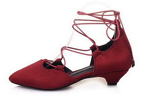 Rouge Couleur Fermeture CCAFLO013496 VogueZone009 Femme Bas d'orteil à Sandales Lacet Unie Talon BxPCqI