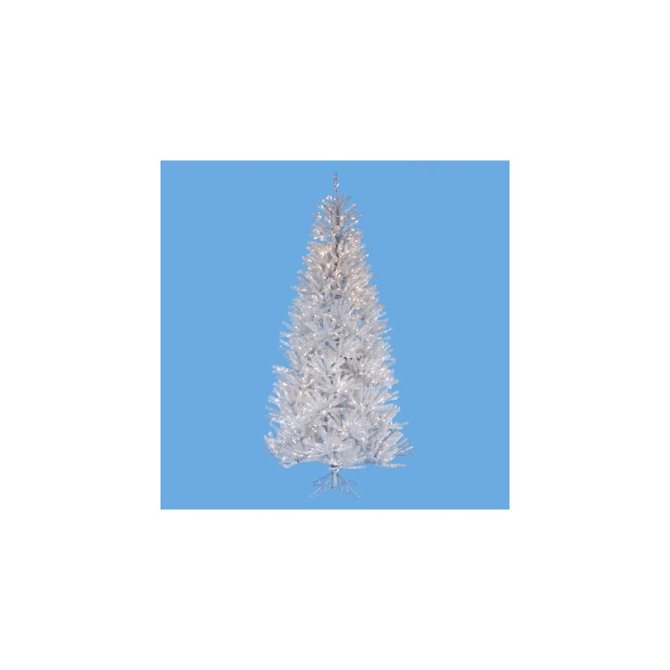 New   9 Pre Lit Artificial Silver Ice Designer Christmas Tree   Clear Lights by Gordon
