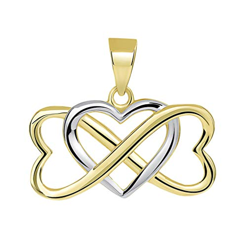 (14k Yellow Gold Two Tone Interlocking Triple Heart Infinity Love Symbol Pendant)