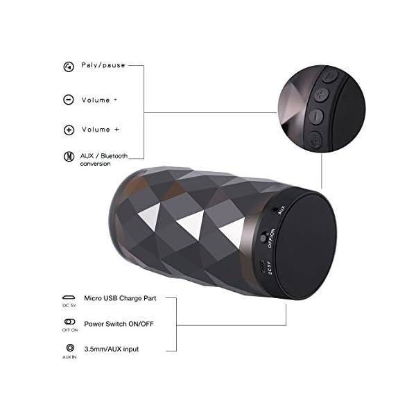 Enceinte Bluetooth Portable Lumineuse Haut-Parleur Bluetooth sans Fil avec LED Lumière Radio,Diamond Design,Camping,l'extérieur Les Voyages 6