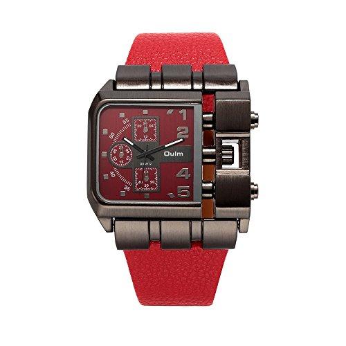 OULM 3364 Brand Original Rectangle Unique Design Men Wristwatch Wide Dial Leather Strap Quartz Watch + In Stock