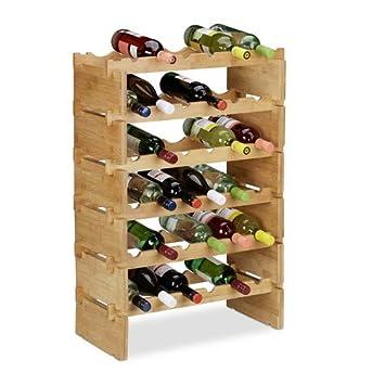 Relaxdays botellero Vino apilable hasta 36 Botellas marr/ón bamb/ú 2 Niveles