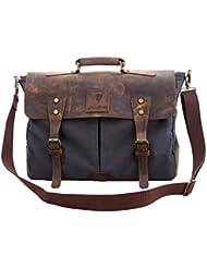 Devil Hunter Genuine Leather Vintage 18 Laptop Canvas Messenger Satchel Briefcase Bag Grey 18(L) x13(H) x 4(W)